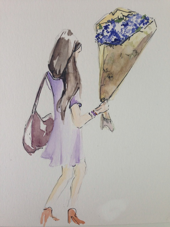 Watercolor of a woman hailing a cab with one hand and a bouquet in the other