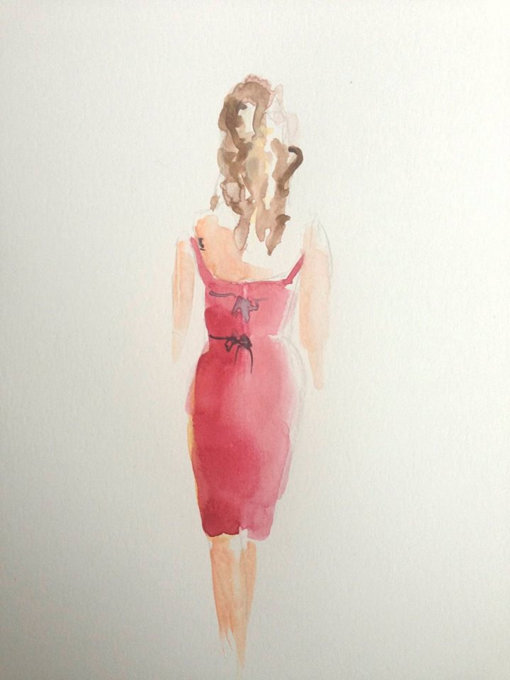 Live Painting of a Woman in a Beautiful Red Gown