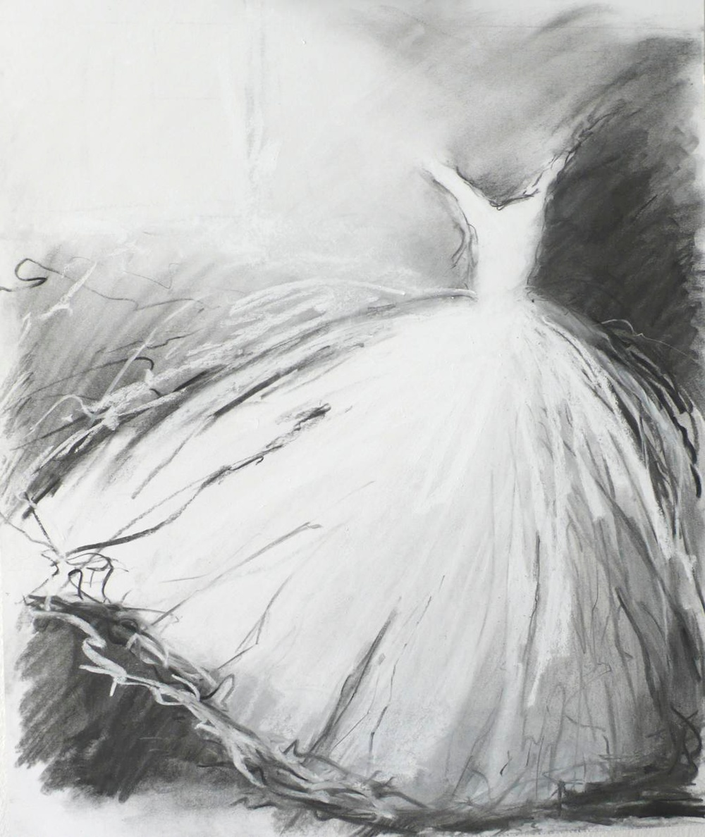 Black and White Charcoal of a Dress