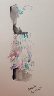 Watercolor Painting of a Dress by Xenia