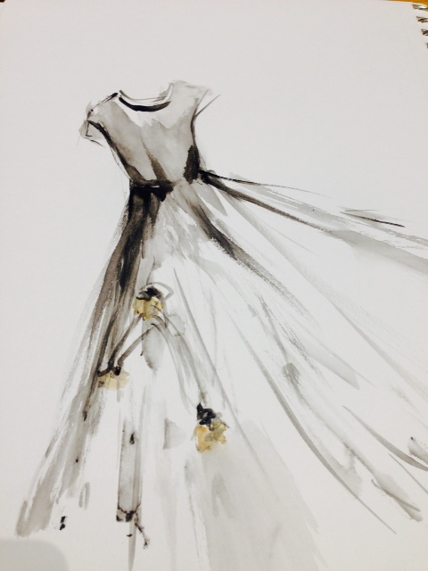 Watercolor iteration of a Stunning Italian Gown