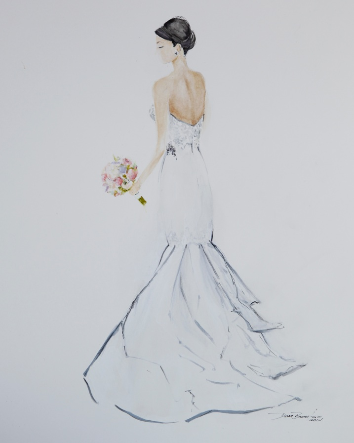 Wedding Dress Painting of a Gorgeous San Francisco Bride
