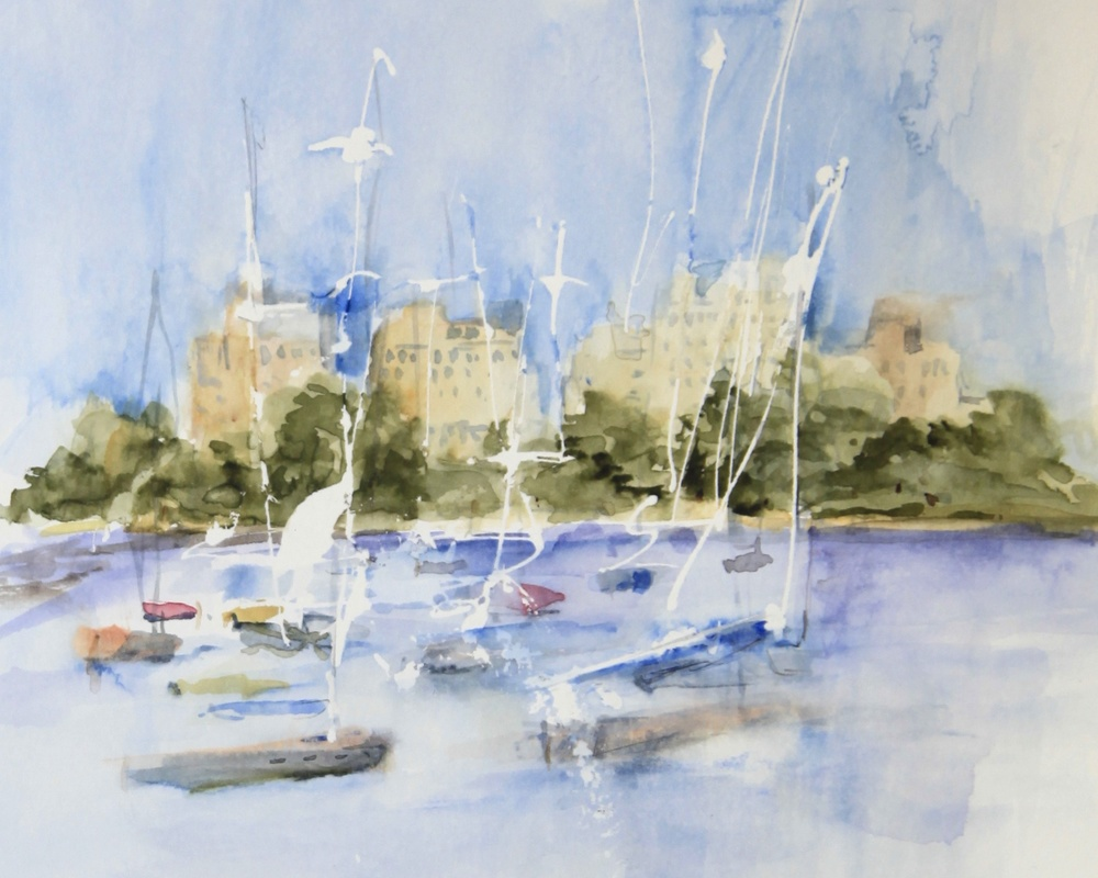Watercolor Piece of the Chicago Yacht Club