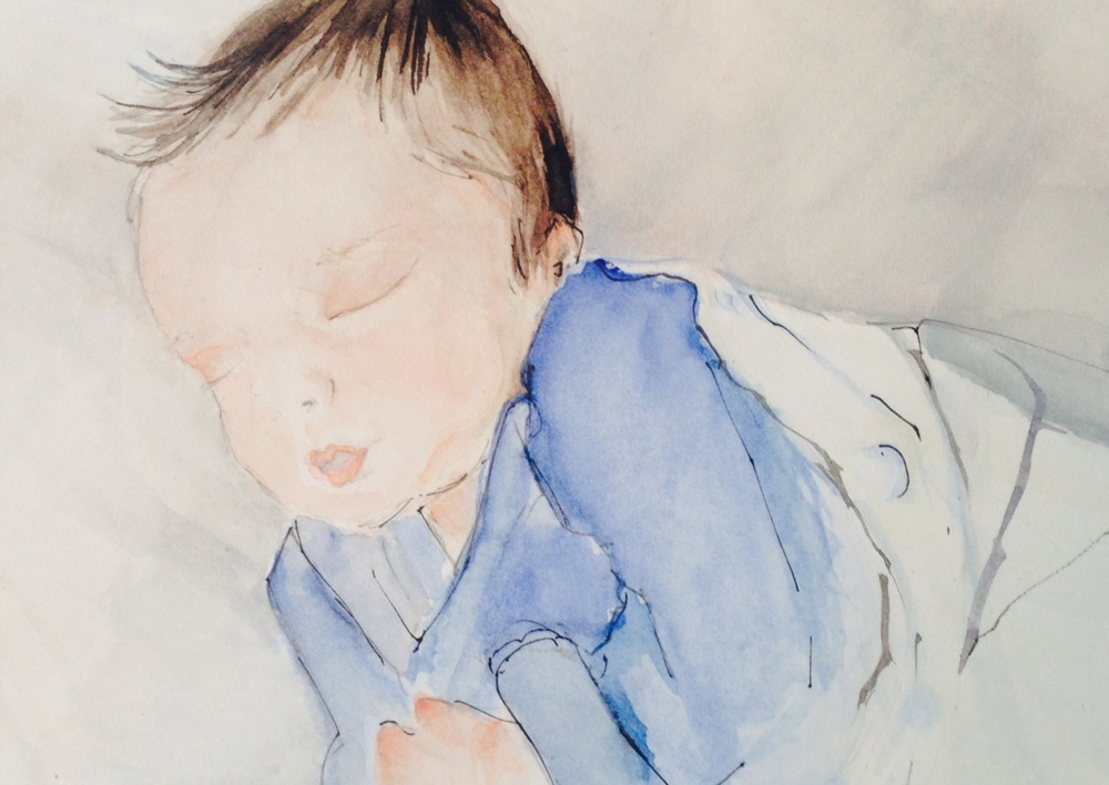 Ink and watercolor portrait of my newborn grandson