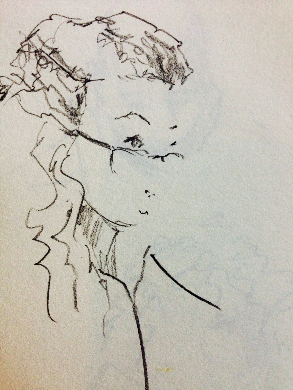 Sketch of a woman with glasses