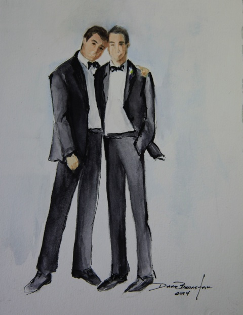 Watercolor portrait of the stunning couple