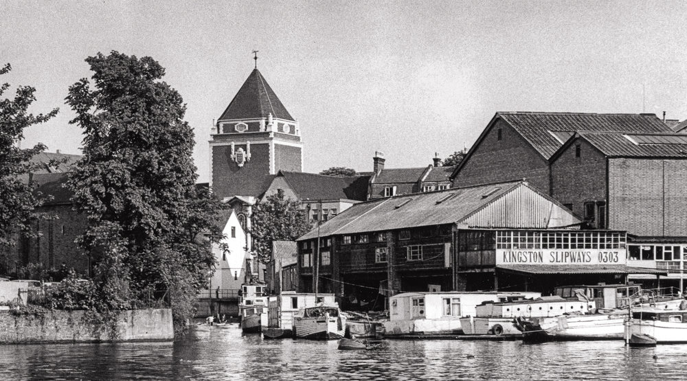 Kingston's riverfront by the Hogsmill c1970..