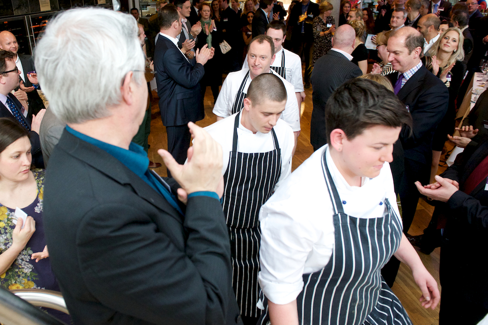 The chefs take to the stage to a round of applause