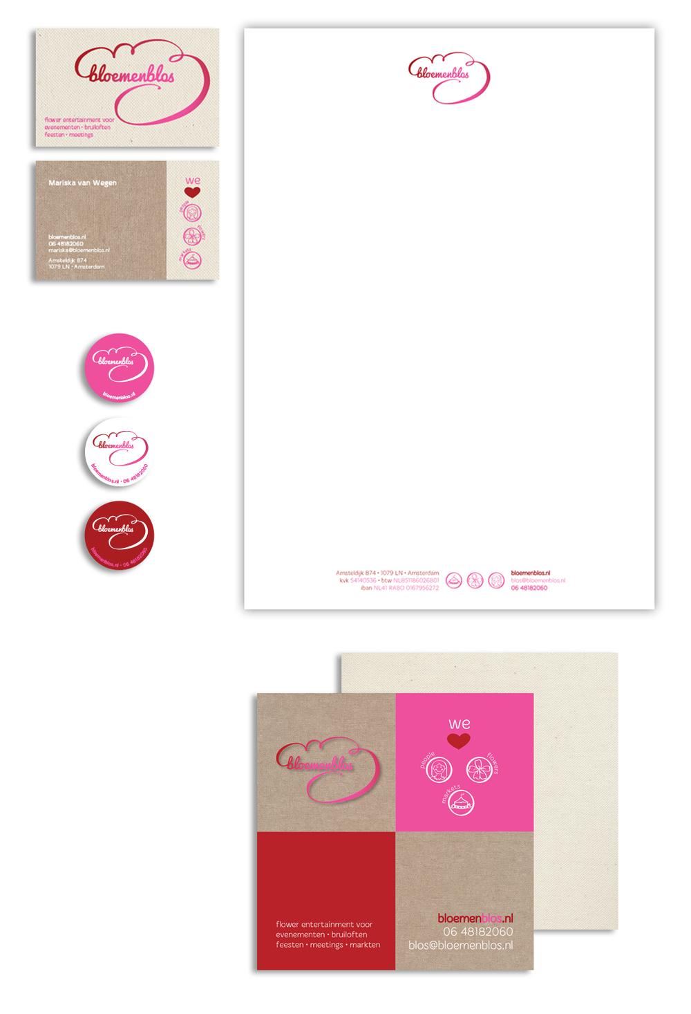 Stationery: business cards, letterhead, stickers, postcard