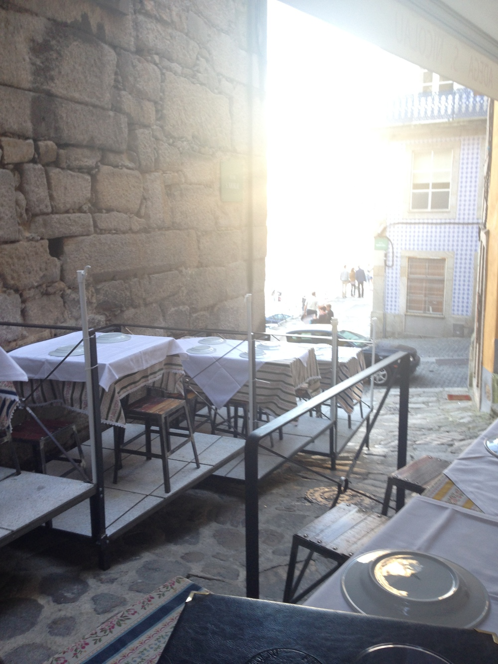 Outdoor seating at Adega