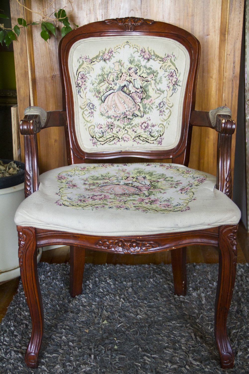 - Antique Queen Anne Chair With Embroidered Cushions — Real Good Goods Co.