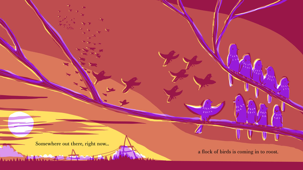 A spread from  Somewhere Out There, Right Now , a picturebook of mindfulness for children