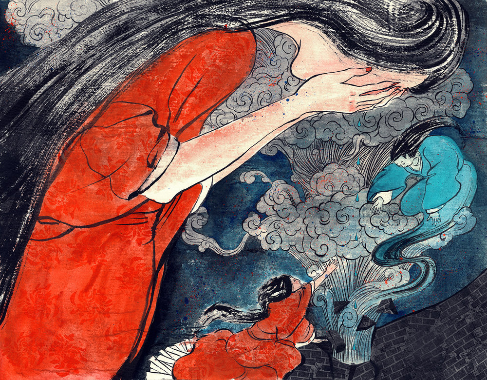 Miss Meng Jiang Weeping the Great Wall   'She felt very upset and crying. The wind and the rain stopped by her weeping. Her tears dripping on the Great Wall, and there was a thundering in her ears. The Great Wall collapsed,and her husband's soul is free.'   MATERIAL:  Chinese ink/Digital