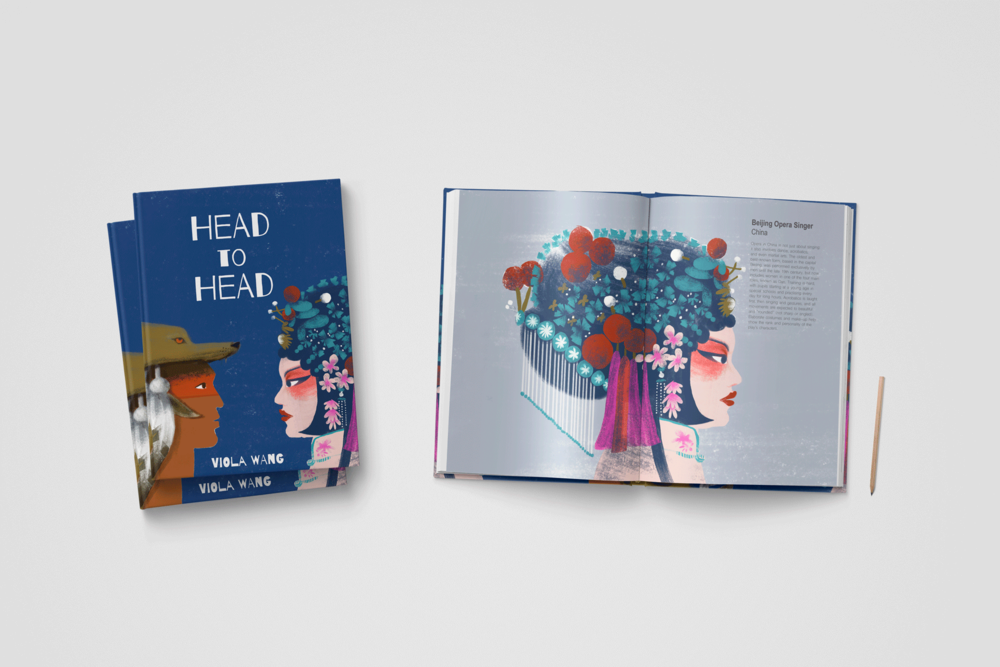 Head to Head  is a cultural index book, featuring a diverse range of human characters, from a Swiss cow-herd to a Kazakh eagle hunter, from Saltillo guitar player to a Japanese geisha. It is filled with the variety of our lives, evidenced by eye-opening costumes, near-impossible surface, to see more similarity than difference.  • Non-fiction • 26 pages • 297mm x 420mm