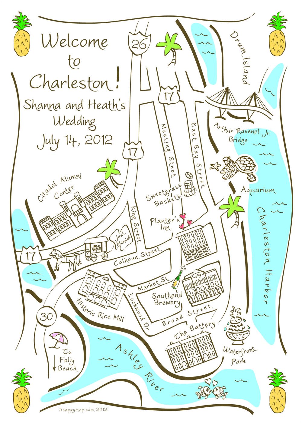 Hand Drawn Map Charleston