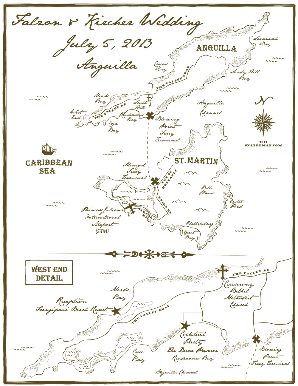 Hand Drawn Map Anguilla