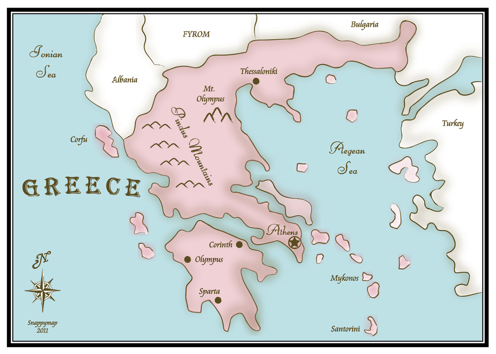 Hand Drawn Map Greece