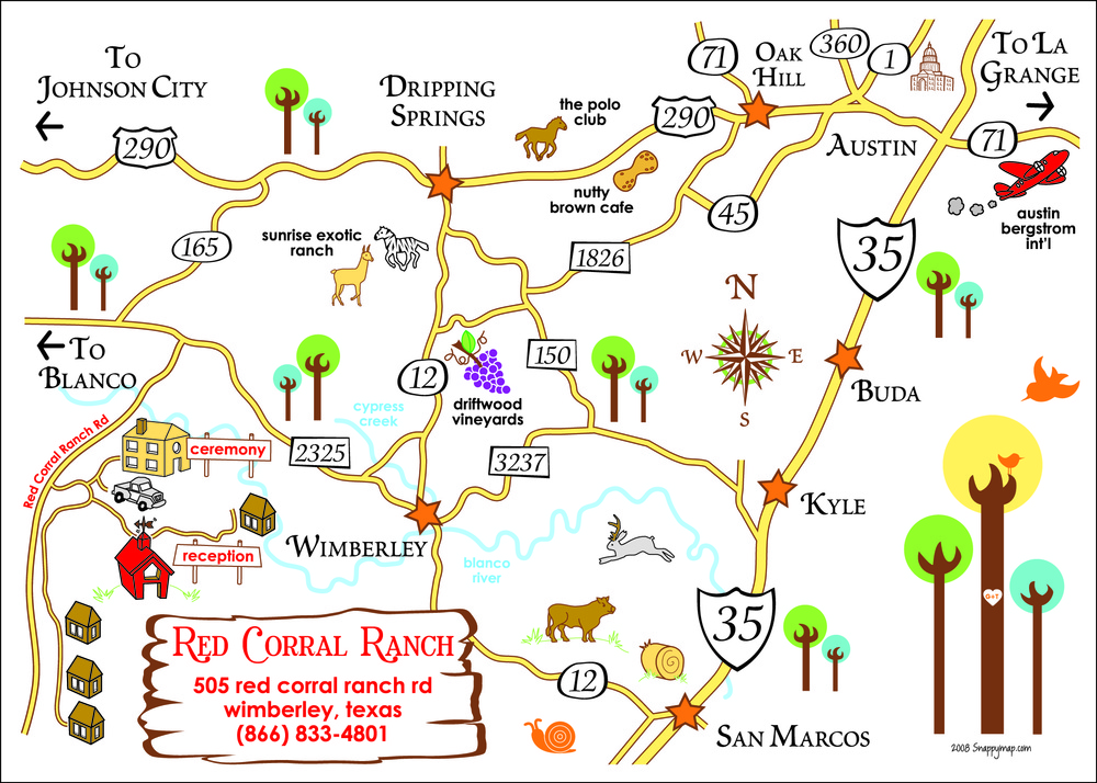 Fun Wedding Map Texas Hill Country