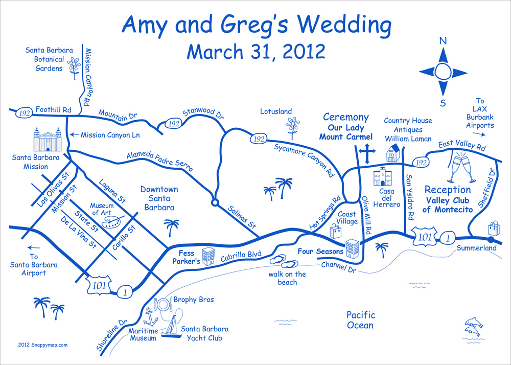 Fun Wedding Map Santa Barbara
