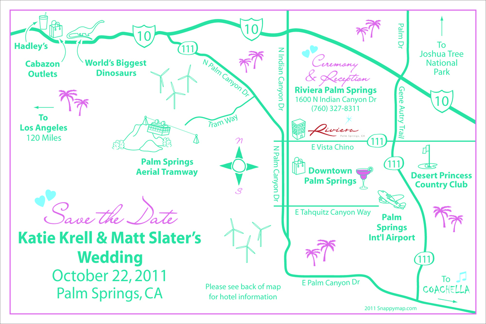 Fun Wedding Map Palm Springs
