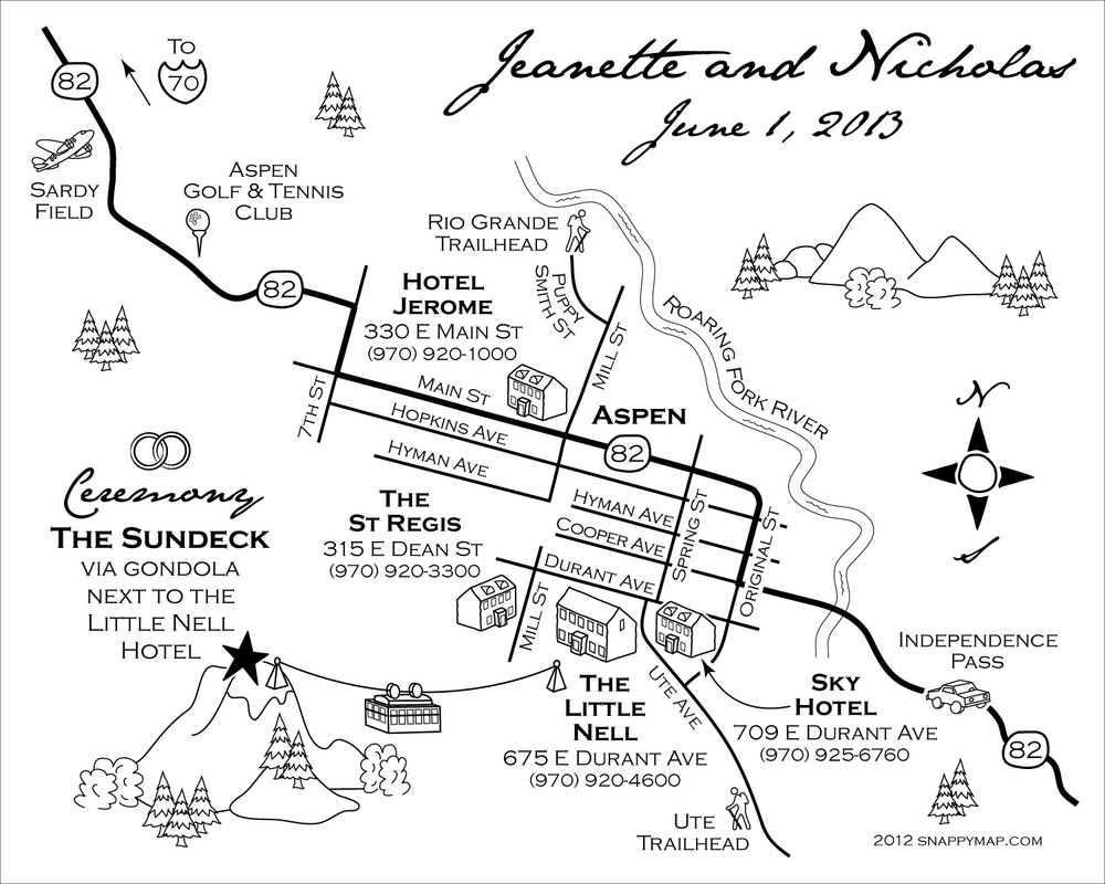 Fun Wedding Map Aspen