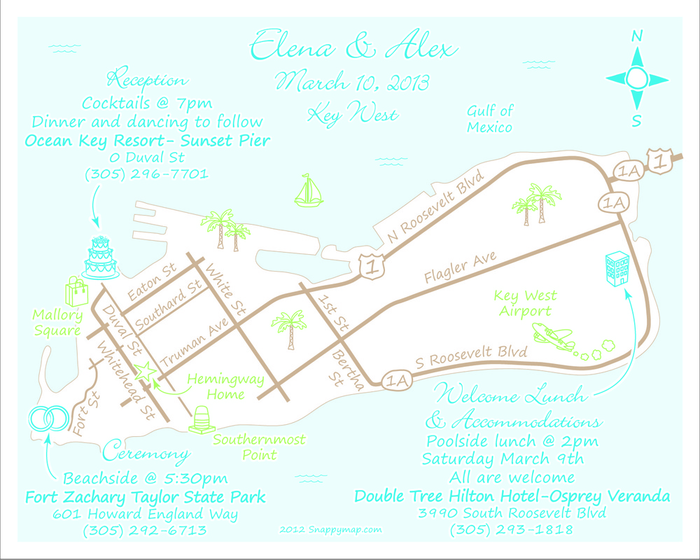 Fun Wedding Map Key West
