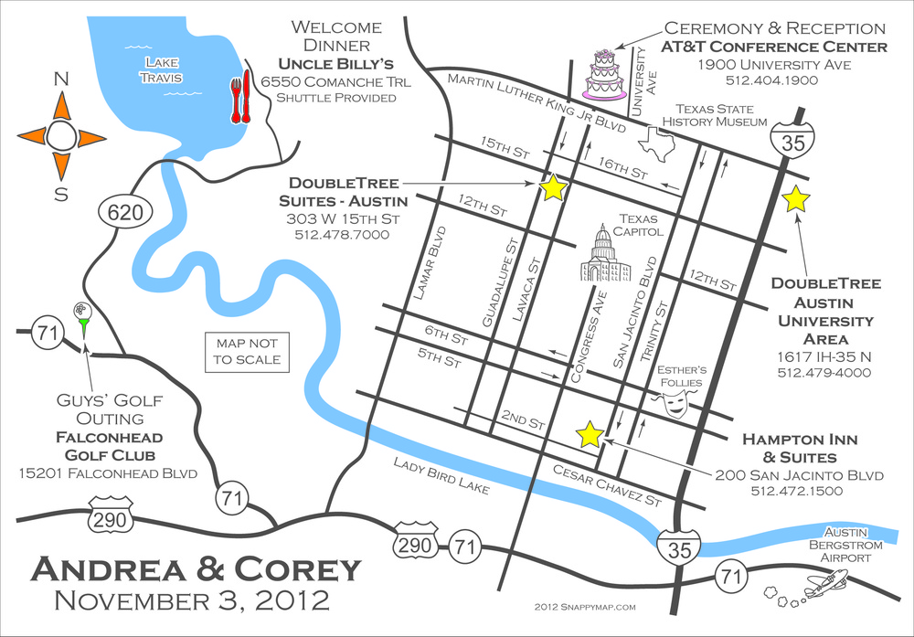 Fun Wedding Map Austin