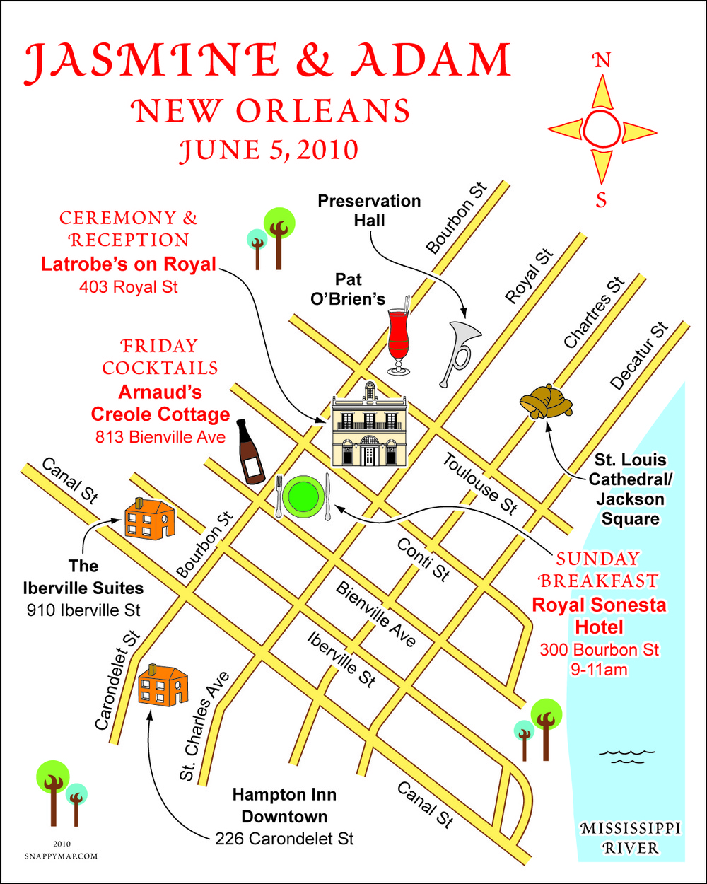 Fun Wedding Map New Orleans