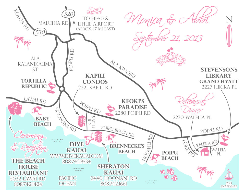 Fun Wedding Map Hawaii