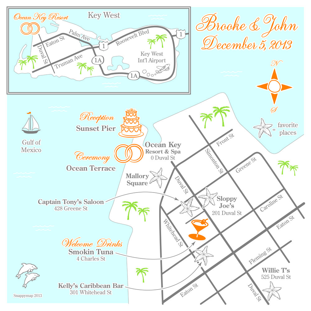 Fun Wedding Map Key West 2