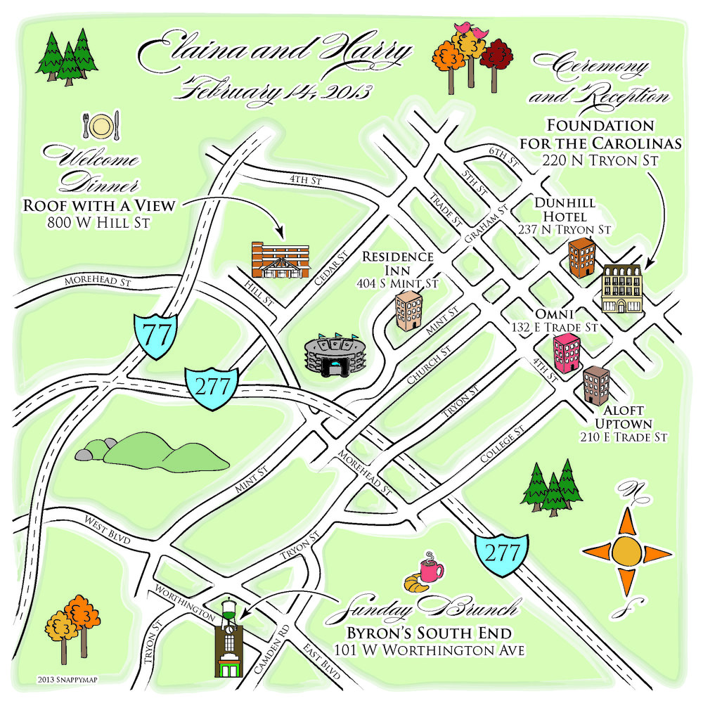 Hand drawn wedding maps custom map design by snappymap House map drawing images