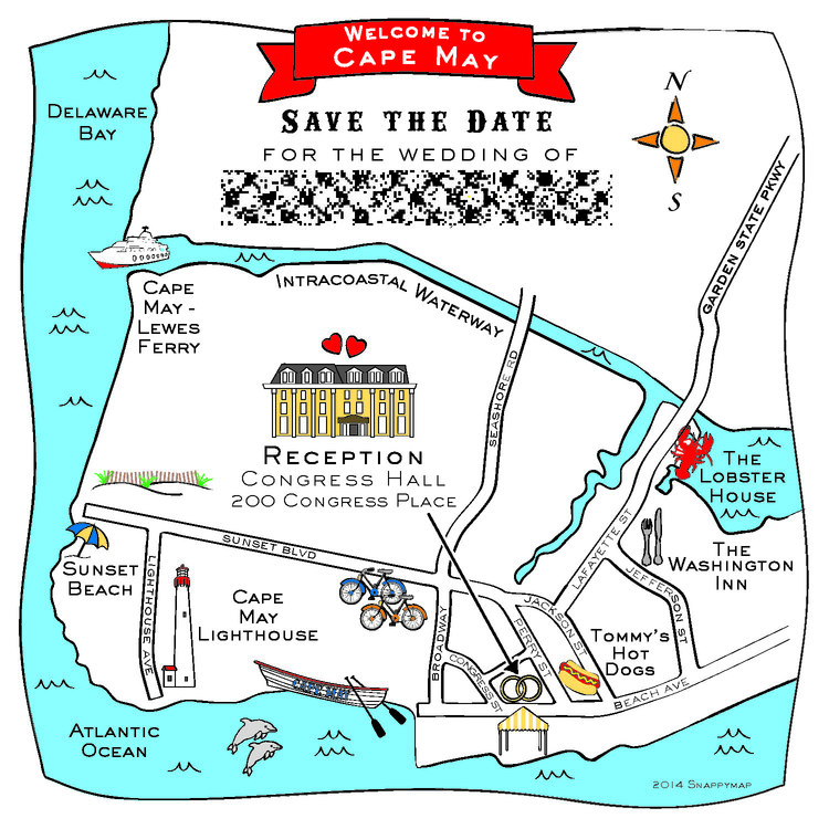 Hand drawn map of Cape May NJ — Custom Map Design by Snappymap