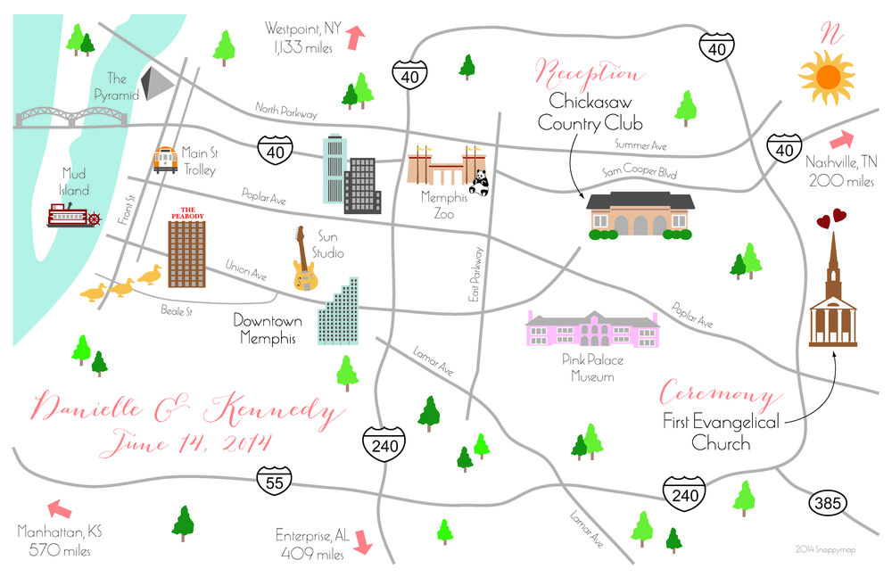 Fun Wedding Map Memphis