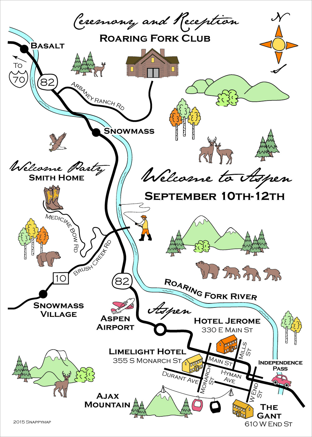 Hand drawn Aspen Wedding Map