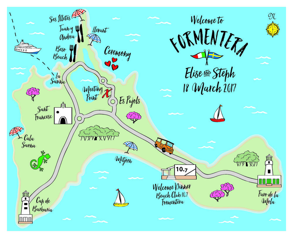 Formentera, Spain wedding map