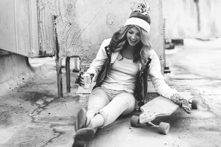 Black and White Winter Street Style Fashion Portrait