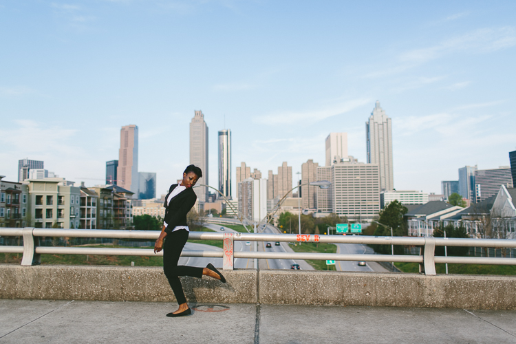 Jackson Street Bridge High Fashion Portrait with Atlanta Skyline