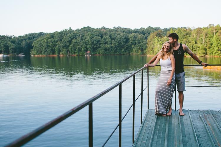 Engaged Couple on Boat Dock