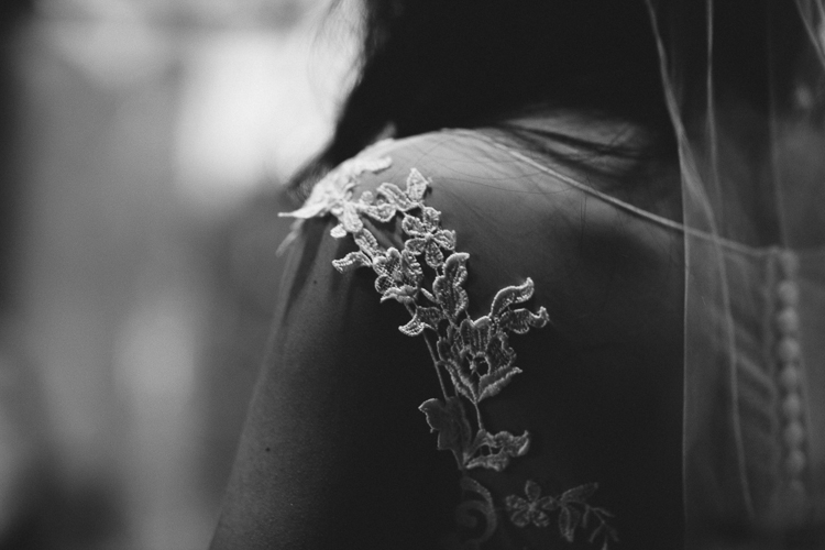 Black and White Shot of Lace Wedding Dress
