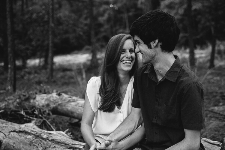 Black and White Shot of Couple on Arabia Mountain