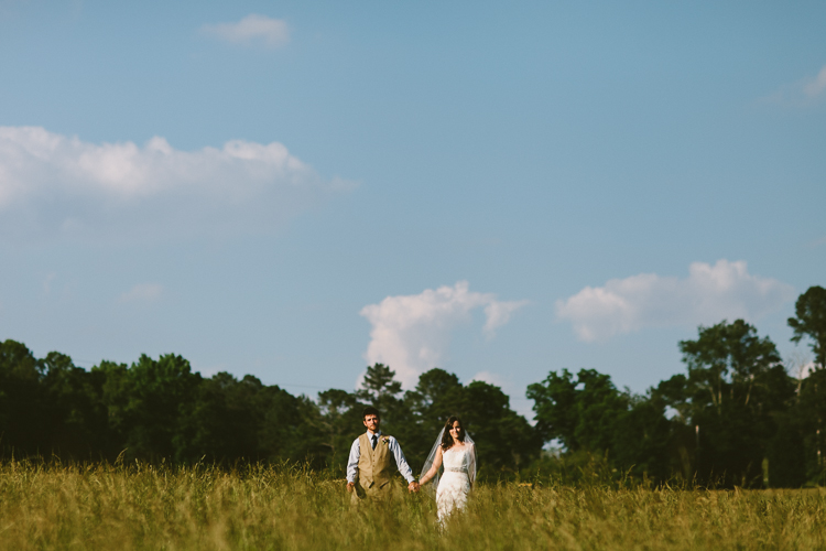 Bride and Groom in Field Portraits