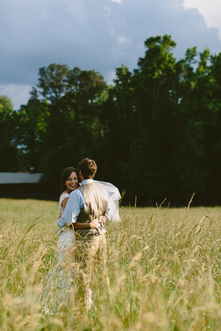 Bride and Groom Portraits in Field