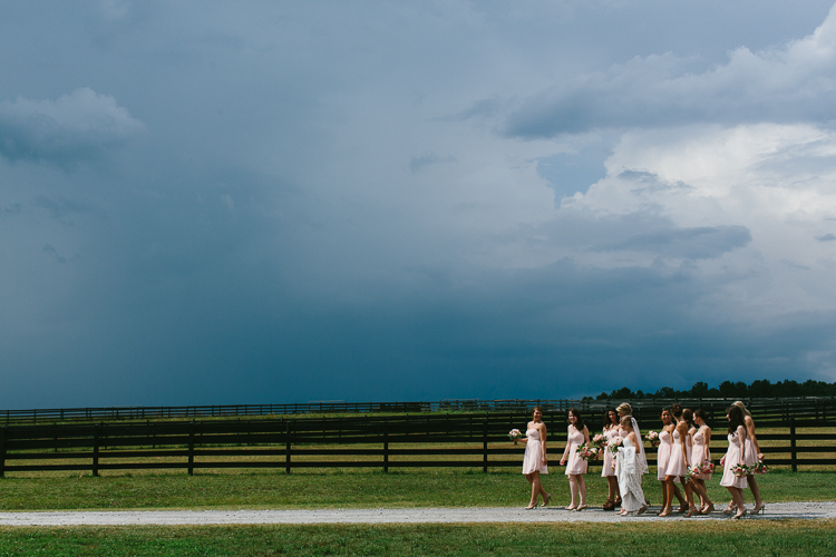 Bride and Bridesmaids Before the Storm