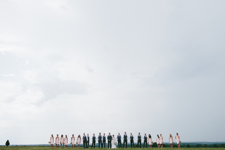 The Wedding Party in a Line