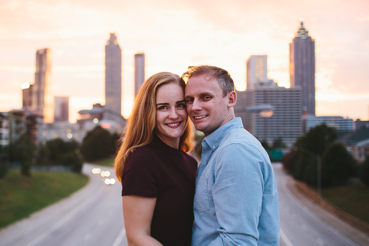 Engagement Portraits with Atlanta Skyline