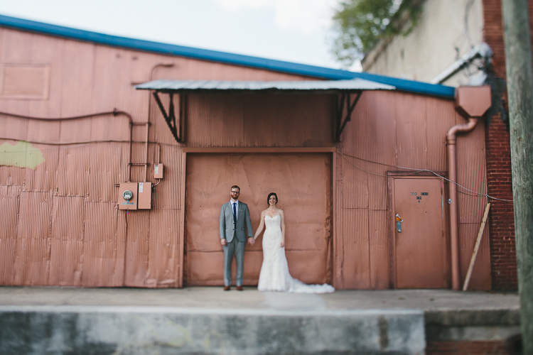 Urban bride and groom portraits