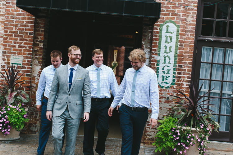 Urban groom and groomsmen