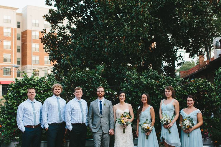 Urban wedding party portraits