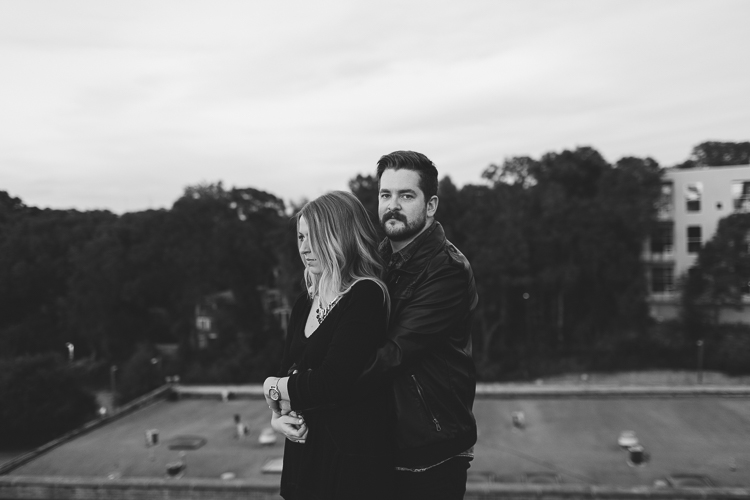 Black and white engagement portraits