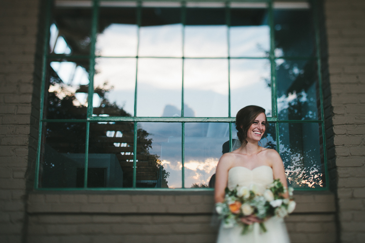 Bride portrait with beautiful sky reflection